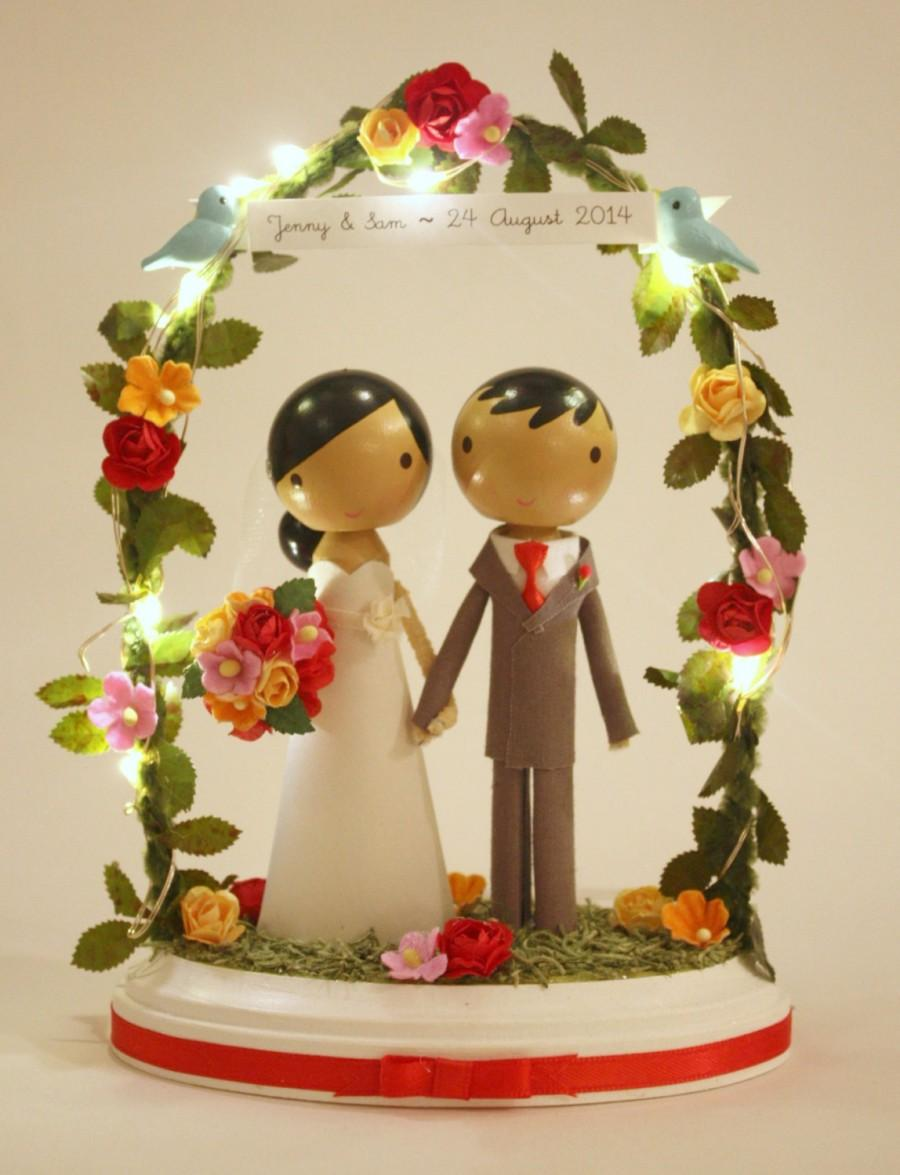 Wedding - twinkle lights wedding cake topper with white base & floral arch