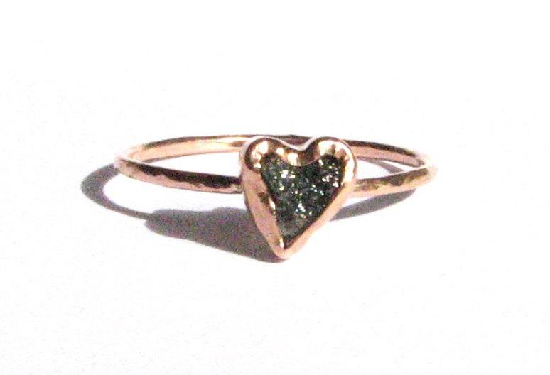 Rough Diamond Heart Ring 14k Solid Rose Gold Ring Engagement