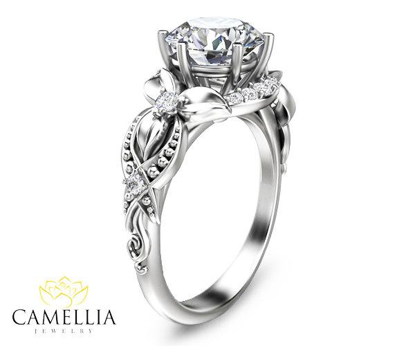 Floral Diamond Engagement Ring In 14k White Gold Diamond Flower Ring