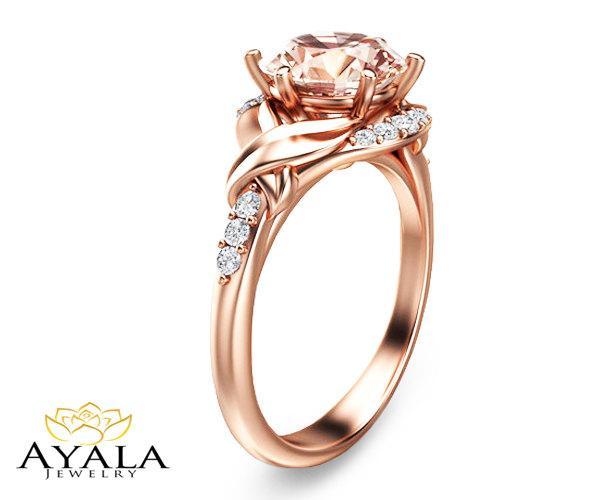 Mariage - 14K Rose Gold Morganite Ring Engagement ring,Morganite Solitaire Peach Morganite Ring