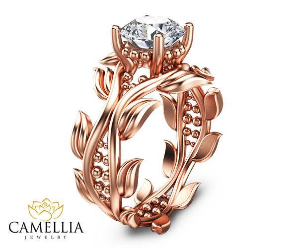 Свадьба - 14K Rose Gold Diamond Ring Diamond Engagement Ring Rose Gold Engagement Ring Leaf Ring