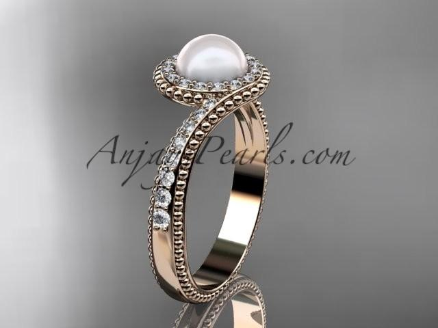 Wedding - 14kt rose gold diamond wedding ring, engagement ring AP379