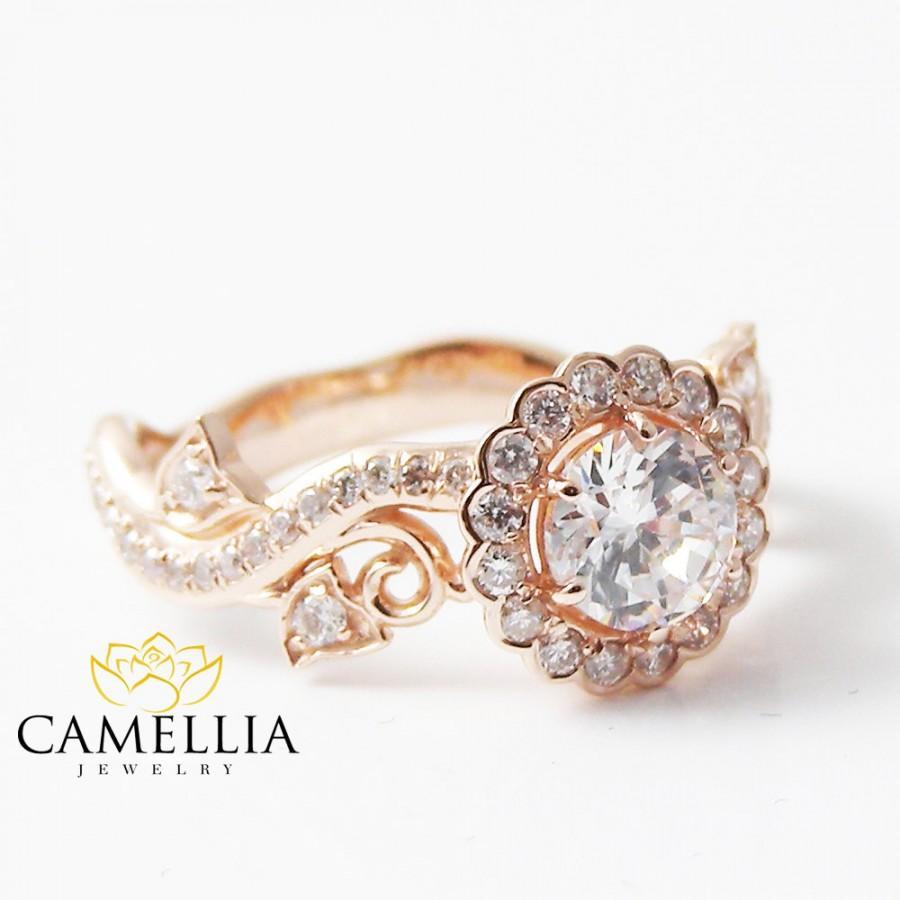 White Sapphire Engagement Ringrose Gold Diamond Engagement Ring14k Rose  Gold White Sapphire Engagement Ring