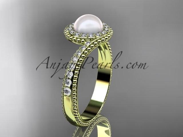 Wedding - 14kt yellow gold diamond wedding ring, engagement ring AP379