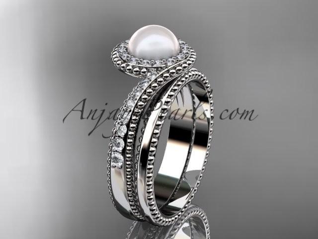 Hochzeit - 14kt white gold diamond wedding ring, engagement set AP379S