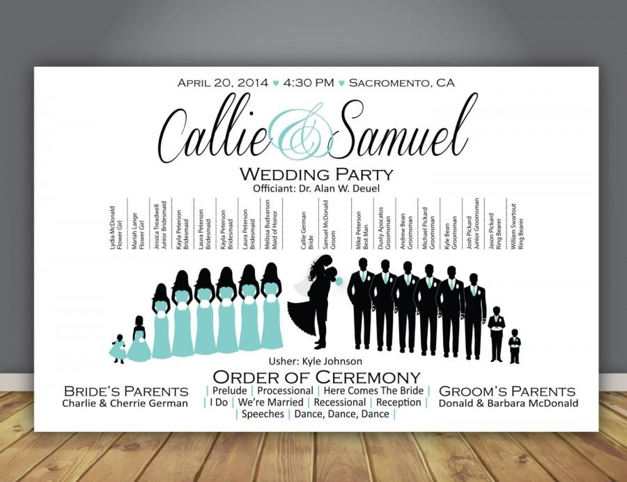 silhouette wedding program wedding party horizontal layout 8 5