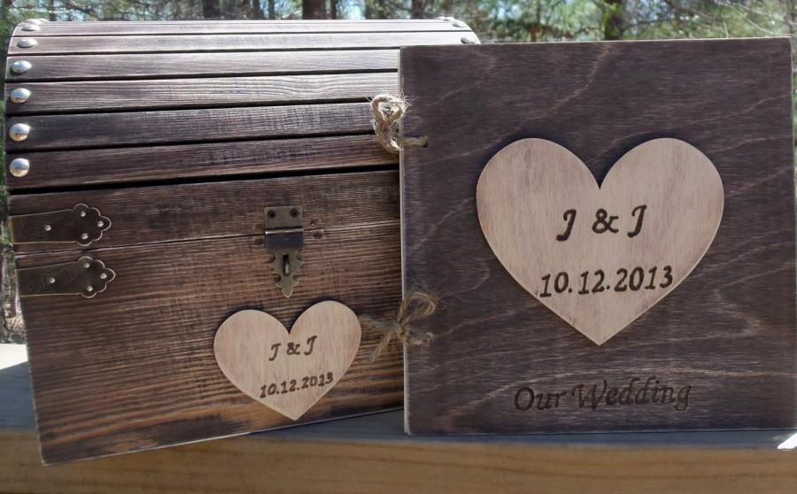 Свадьба - Rustic Wedding Set - Treasure Chest AND Matching Guest Book - - SAVE by buying the Set - Small or Medium