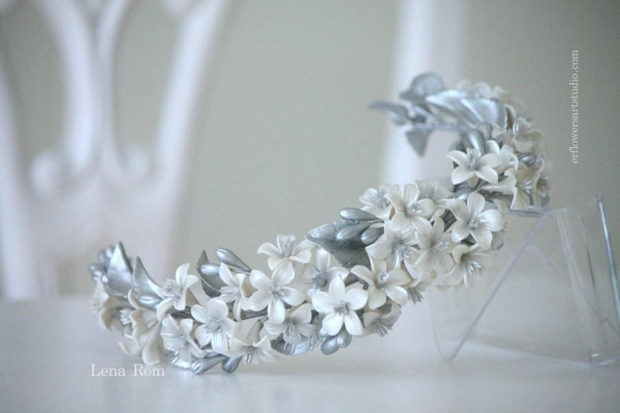 Mariage - Bridal headpiece clay. Silver wedding crown. Bridal headband.  Blossom headpiece. Wedding headband. Floral headpiece. MOD518 bridal Crown