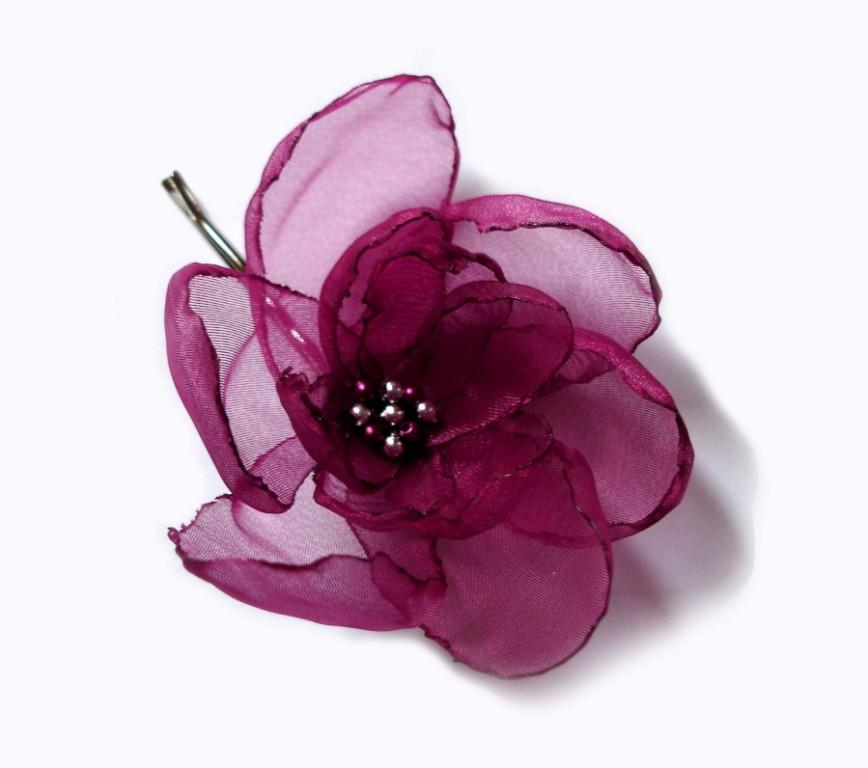 Mariage - romantic cherry ruby rose blossom flower bobby pin