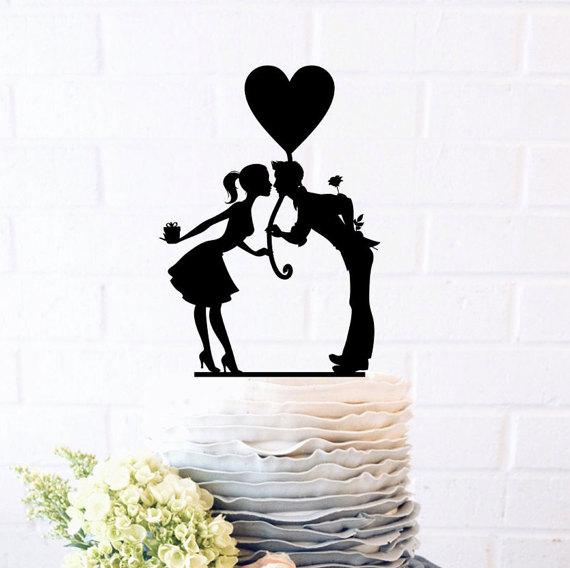 Wedding - Bride and Groom, Pure love, Empyrean love, Romantic filings, Wedding Cake Topper, Cake Decor, Silhouette Bride and Groom,