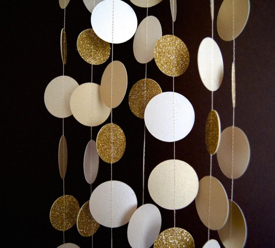 Свадьба - Paper Garland in Cream and Gold, Bridal Shower, Baby Shower, Party Decorations, Birthday Decor