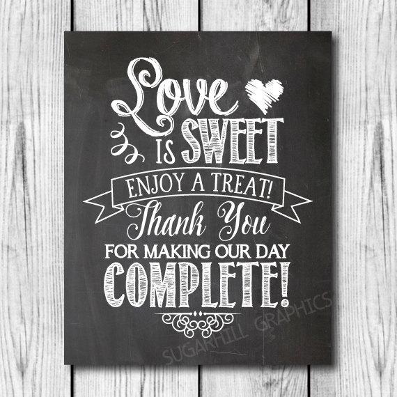 Mariage - Chalkboard Wedding Sign, Printable Wedding Sign, Chalkboard Wedding Love Is Sweet Sign, Wedding Decor, Wedding Signage, Instant Download