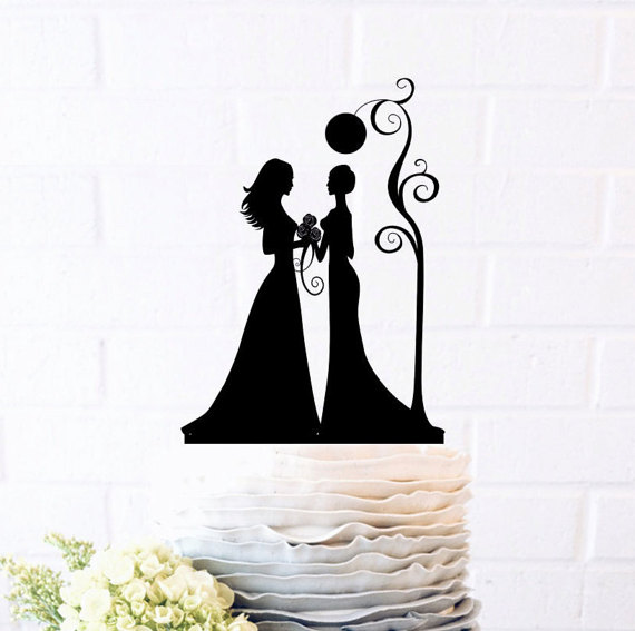 Wedding - Mrs & Mrs Cake Topper, Custom Wedding Cake Topper, Same sex wedding, Cake Decor,Wedding Cake Topper Silhouette, gay wedding