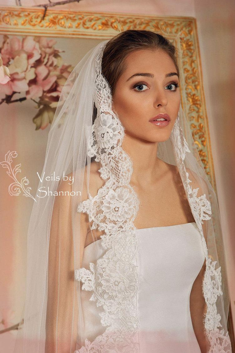Hochzeit - Wedding Veil, Lace Bridal Veil, Cathedral Veil Style V3A-One Layer Cathedral Length Lace Trim Veil with Comb Attached
