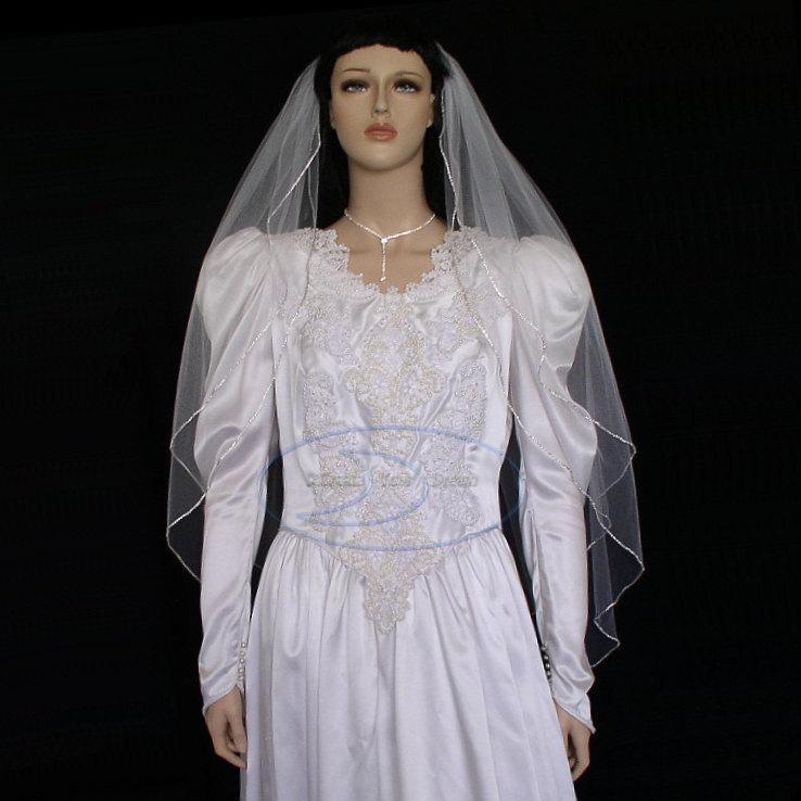 "Hochzeit - Knee Length Rhinestone veil 2 tier 42""  edged with rhinestone chain"