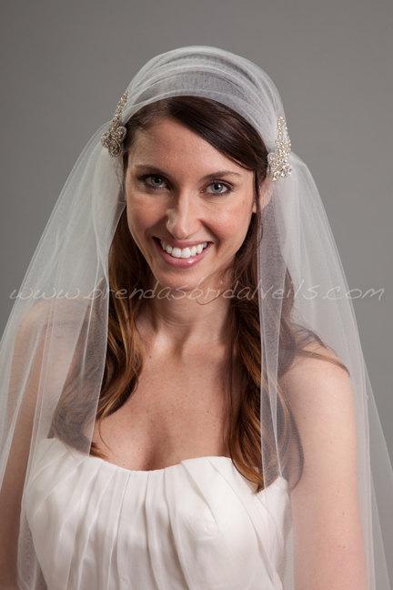 زفاف - Juliet Cap Veil Set, 2 Piece Detachable Rhinestone Hair Clips, 2 Layer Cap Veil - Monshell