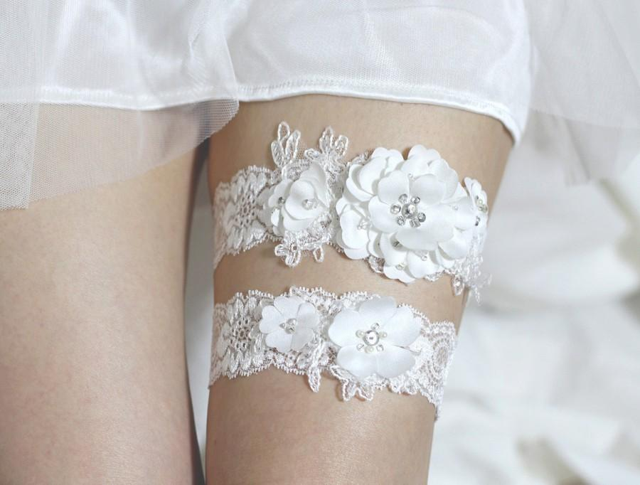 Свадьба - Lace Bridal Garter Set, Bridal Garter set, Wedding Garter set, Satin Garter set, Lace Garter set, garter set