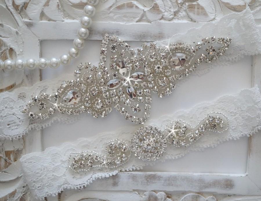 Свадьба - Wedding Garter Set, Bridal Garter Set, Vintage Wedding, Lace Garter, Crystal Garter Set - Style 100A