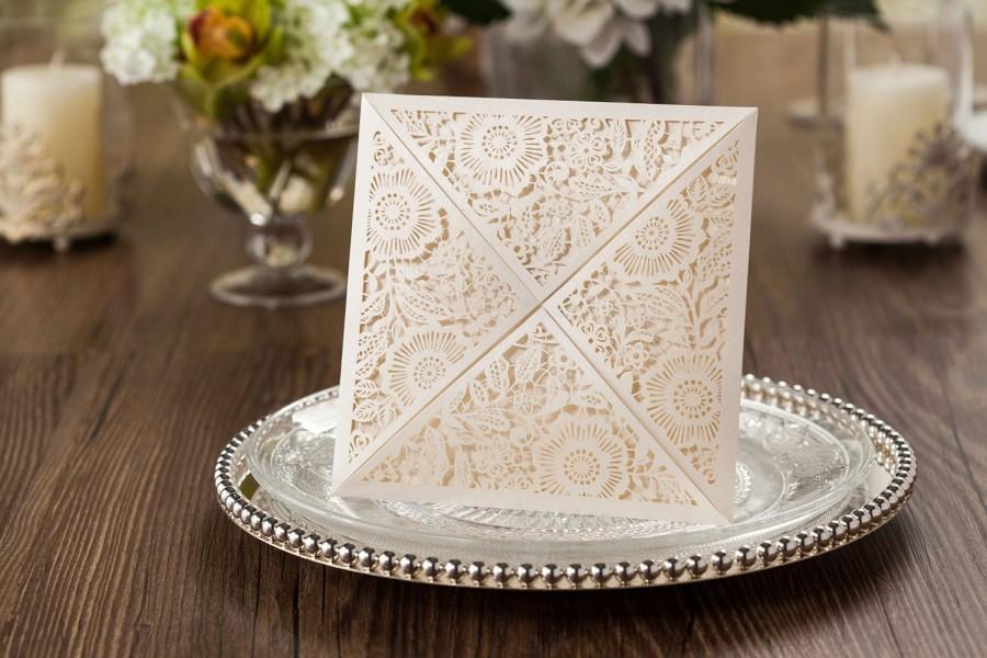 Wedding - DIY Printable Wedding Invitations Lily Ivory Shimmer Square Floral Laser Cut Wedding Wallet (WM219)