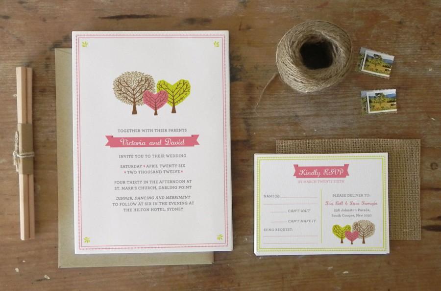 Wedding - DIY Printable Wedding Invitation Woodlands - 4 pieces