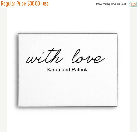 Hochzeit - SALE With Love Text Stamp, Custom Calligraphy Wedding Stamp, Favor Tag Stamp, Wood Handle or Self inking