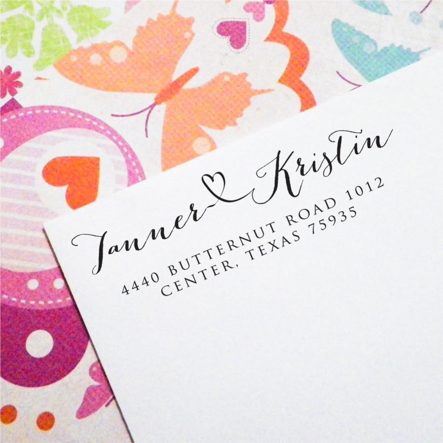 زفاف - Personalized Return Address Stamp, Self Inking Stamp or mounted on Wood, First names with Connecting Heart, Bridal Shower Gift (T91)