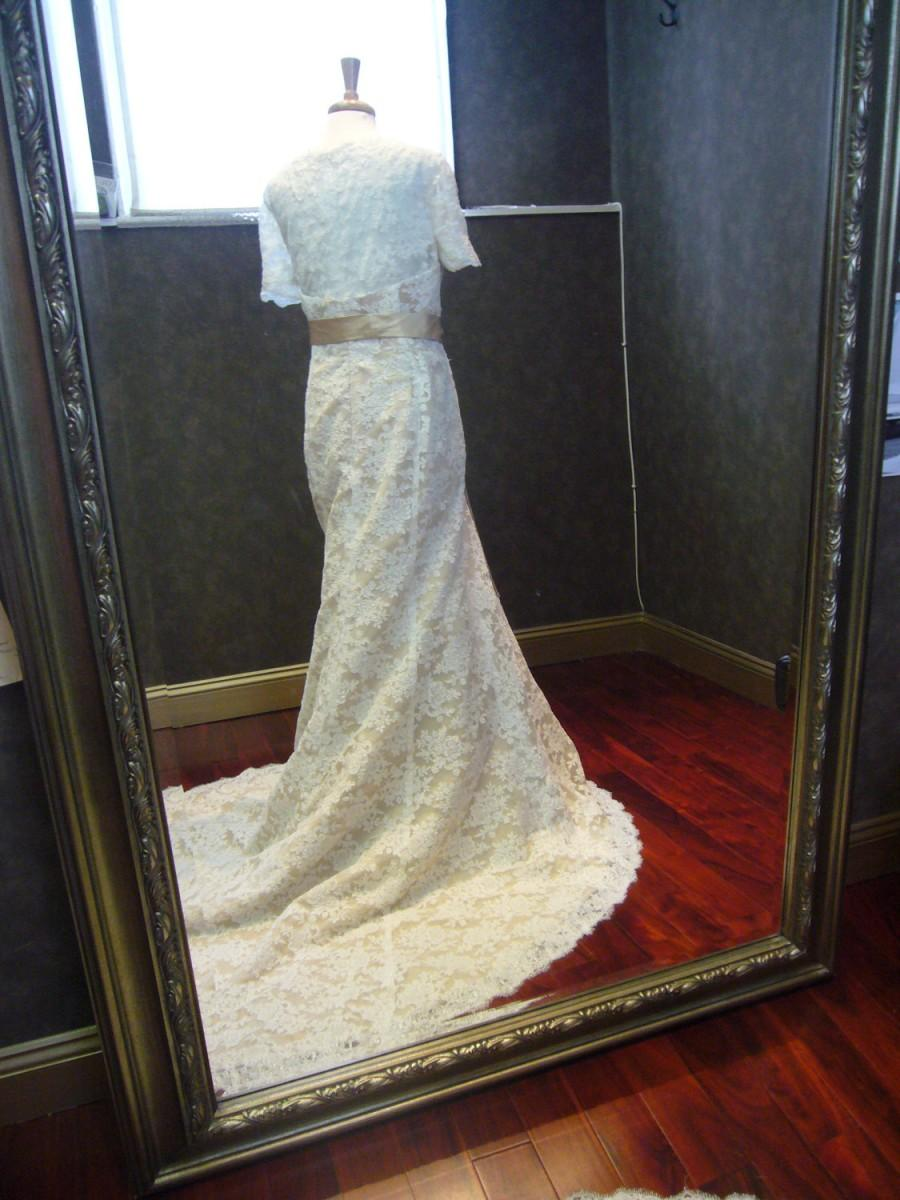 Nozze - Classy Champagne Wedding Dress with Sleeves and French Lace Custom Made to Your Measurements