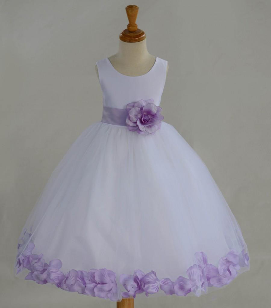 033dbc25454 White Flower Girl dress bow sash pageant petals wedding bridal children  bridesmaid toddler elegant sizes 6-9m 12-18m 2 4 6 8 10 12 14