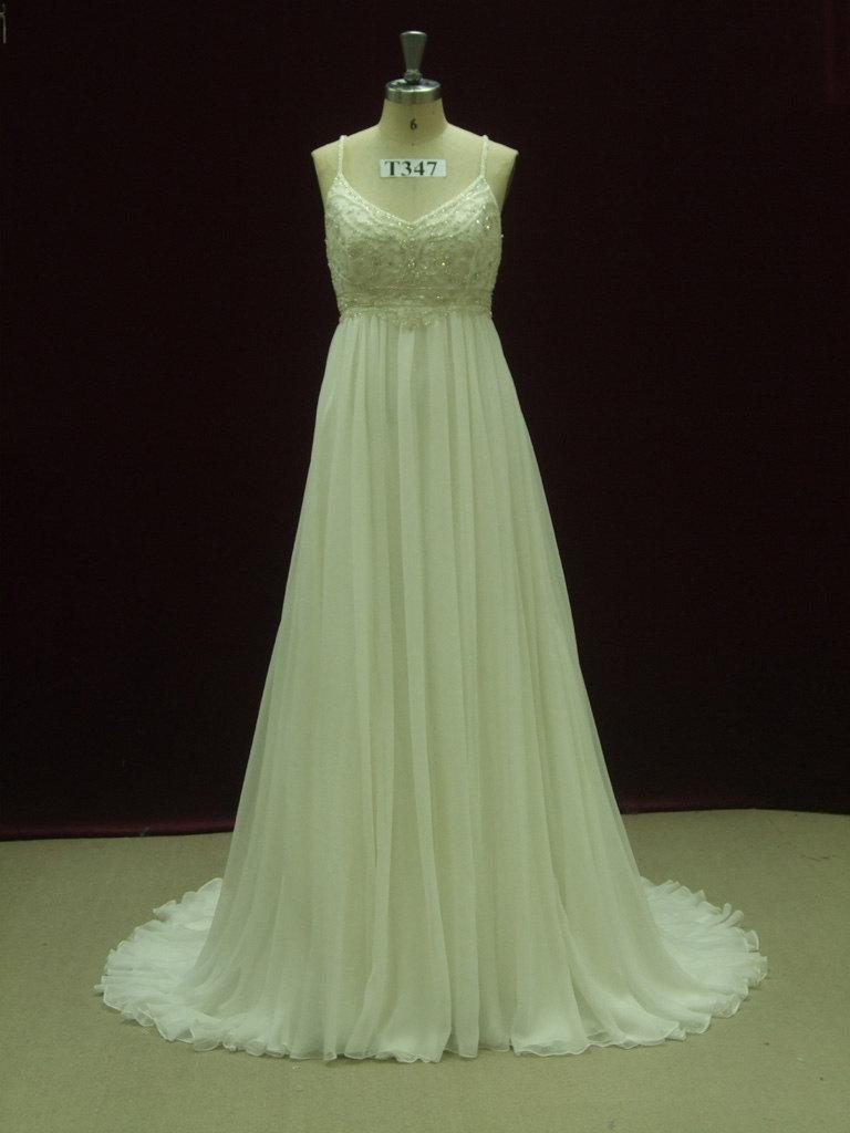 Mariage - Gorgeous Gatsby Wedding Dress Empire Waist with Straps Custom Made to Your Measurements