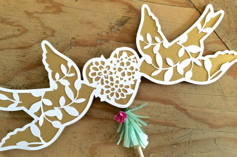 """Mariage - Papel Picado Style """"Love Dove"""" Mexican Cake Topper Decoration for Weddings and Fiestas"""