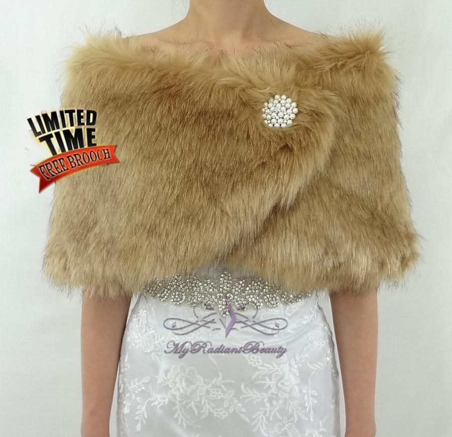 Hochzeit - Faux Fur Wrap, Fur Shrug, Vintage Brown Chinchilla Faux Fur Wrap, Wedding Wrap, Bridal Stole, Faux Fur Shrug, Bridal Shawl FW108-V.BROWNCHIN