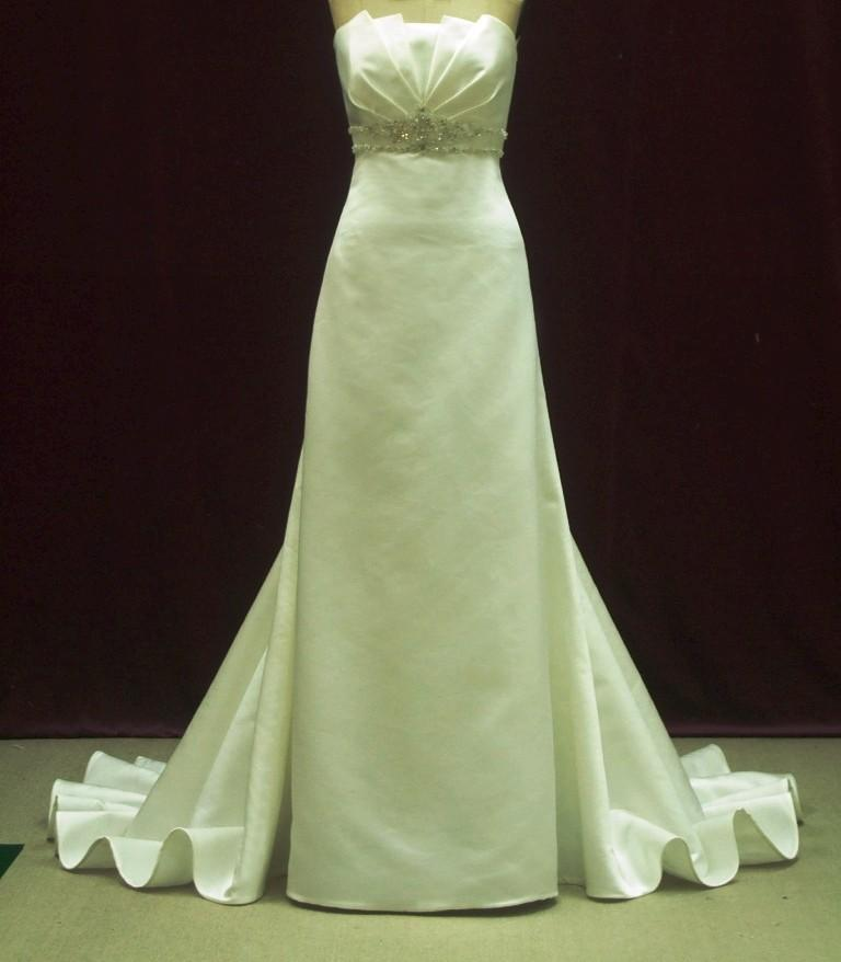 Mariage - Wedding Dress In Satin and Crystals Sheath Style Dramatic Train Made to Measure