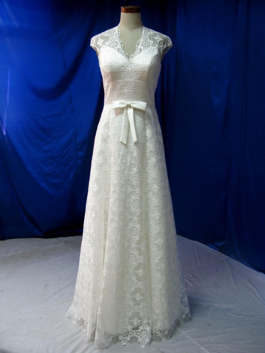 Mariage - Beautiful Country Wedding Dress with Cap Sleeves Illusion back and Bow Custom Made in your Measurements