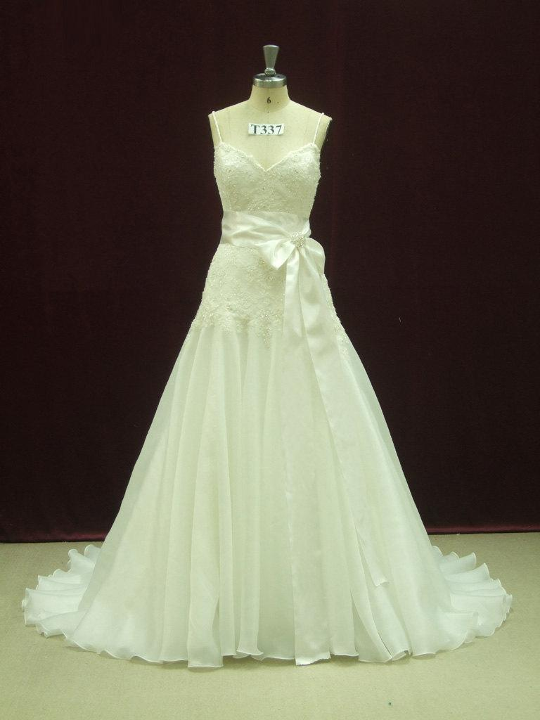 Hochzeit - Fit and Flair Wedding Dress with Spaghetti Straps Custom Made to your Measurements