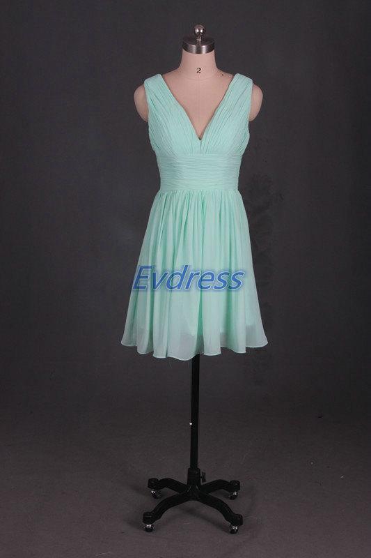 Mariage - Cheap short bridesmaid dresses,mint chiffon bridesmaid gowns,2015 v-neck bridesmaid dress.