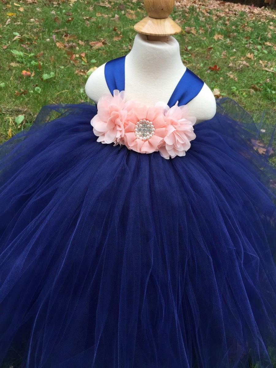 Hochzeit - Peach and navy girls tulle dress, peach and navy flower girl dress, peach tulle tutu, navy blue girls tulle dress