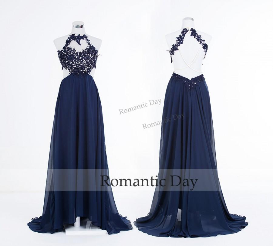 Hochzeit - Sexy Halter Appliques Backless Navy Long Prom Dresses 2015/Sexy Long Party Dress/Celebrity Dress/Custom Made 0401
