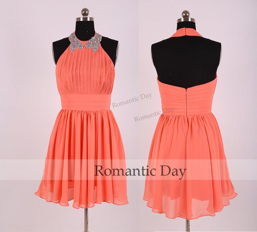 Wedding - Women Coral Halter Pleats Short Homecoming Dress/Short Prom Dress 2015/Chiffon Homecoming Dress/Party/Summer Dress/Custom Made 0373