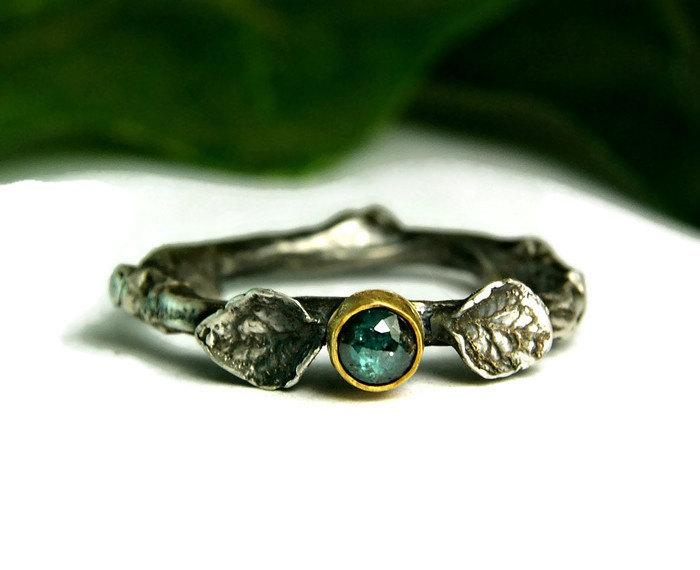 Mariage - Blue Diamond Engagment Ring, Twig Wedding Ring, Rustic Style Jewelry, Two Tone Gold & Silver Ring