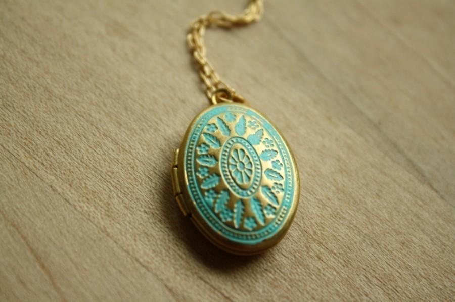 Wedding - Small Blue Locket Necklace, Ornate Turquoise Locket, Long Oval Locket, Blue Necklace, Turquoise Necklace Small Locket Pendent