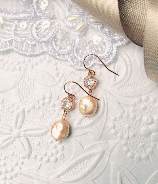 Mariage - Bridal 14K Rose Gold Filled Pearl Earrings, Bridesmaids Natural Coin Pearl Andover CZ Jewelry, Beautiful Genuine Champagne Coin Pearls
