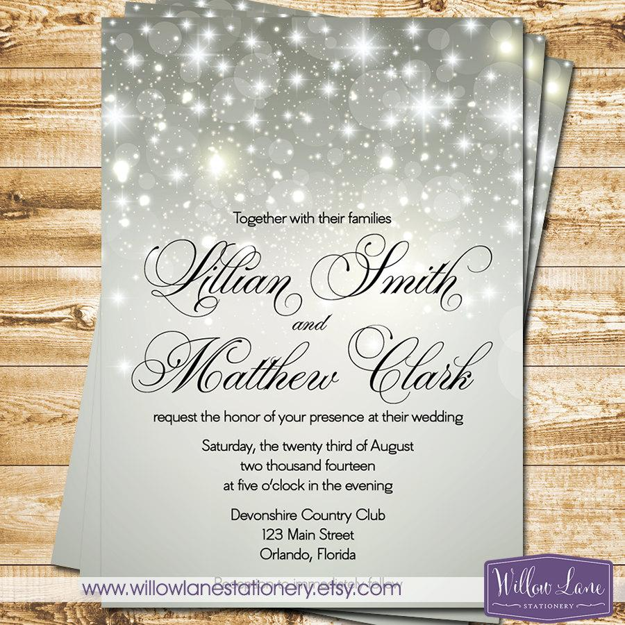 silver bokeh wedding invitation winter wedding invite falling