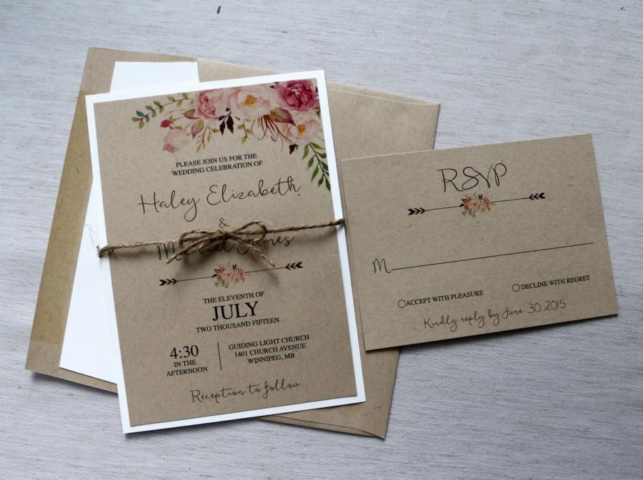 boho wedding invitation rustic wedding invitiation. Black Bedroom Furniture Sets. Home Design Ideas