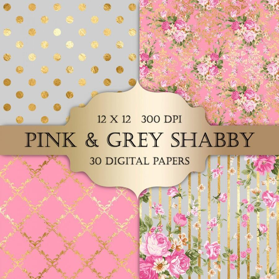 Gold Foil Shabby Chic Digital Papers Pink And Grey Polka Dot