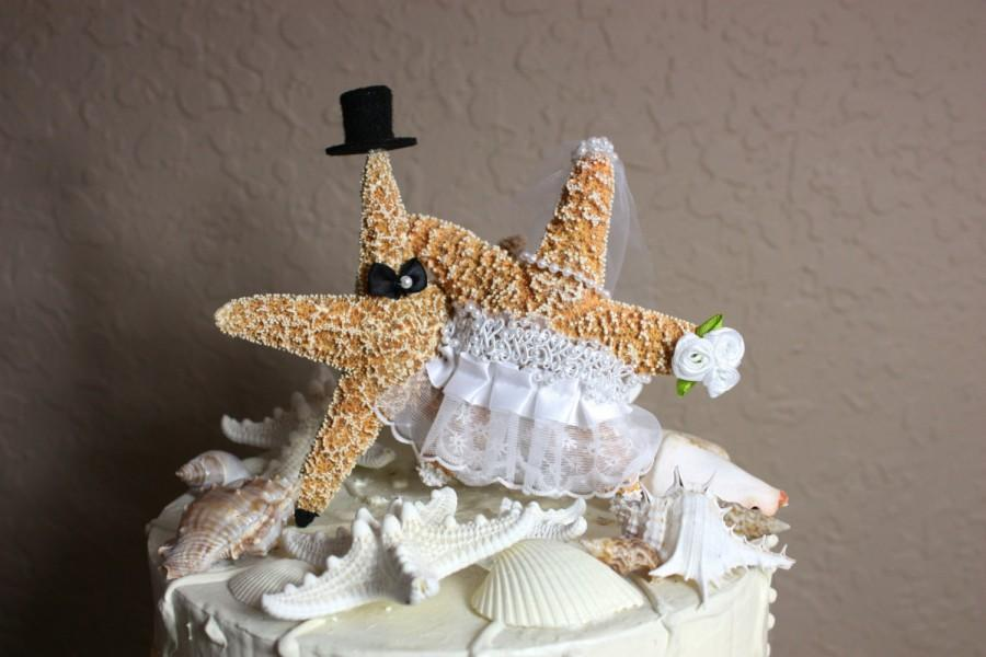 Star fish bride and groom wedding cake topper formal beach for Fishing themed cake toppers