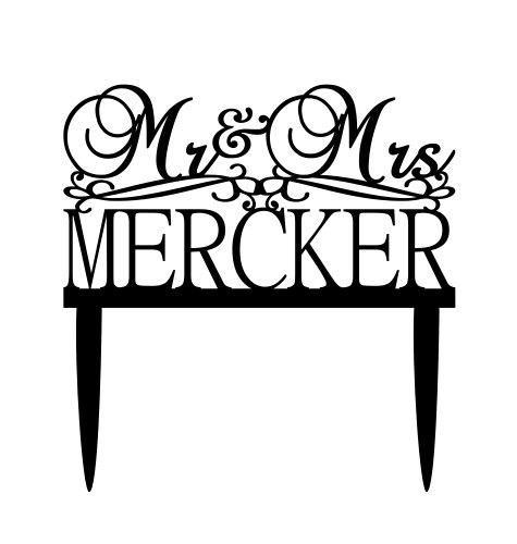 Mariage - Personalized Black Acrylic Wedding Cake Topper