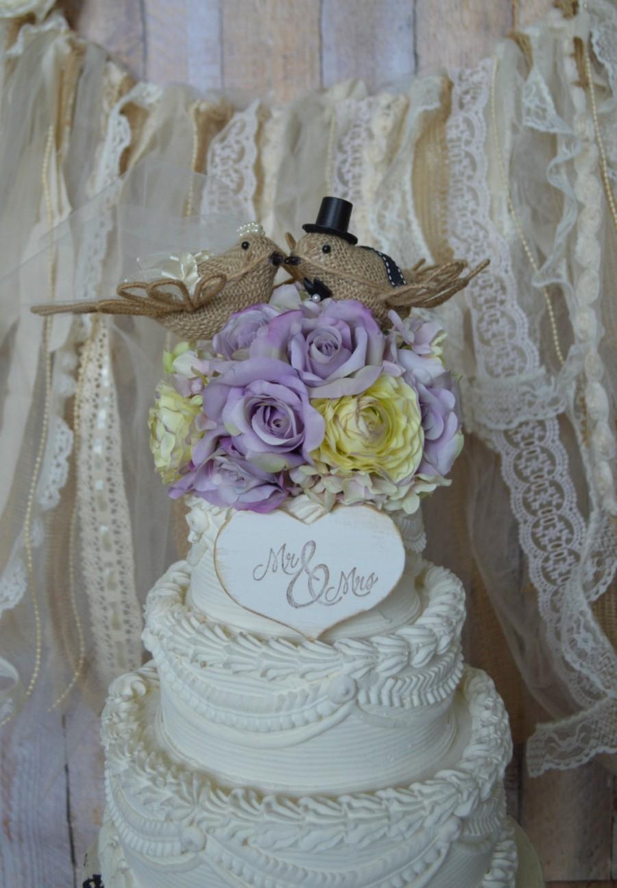 Mariage - Burlap Birds-Love Birds-country-bride-groom-woodland-animal-ivory-veil-Wedding Cake Topper-Burlap Birds Wedding Cake Topper-rustic wedding