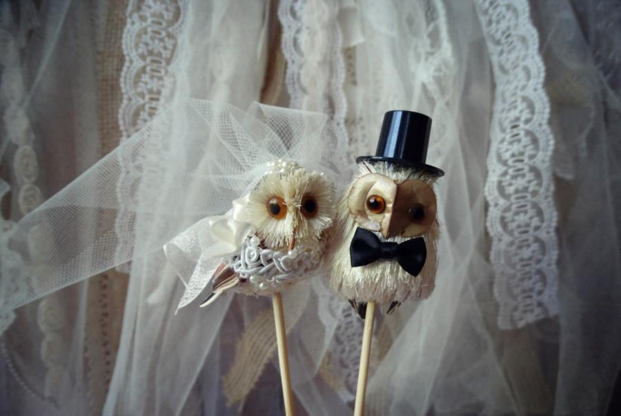 Свадьба - Owls wedding cake topper-Barn owls cake topper-Rustic cake topper-Rustic wedding-OWLS-snow owls