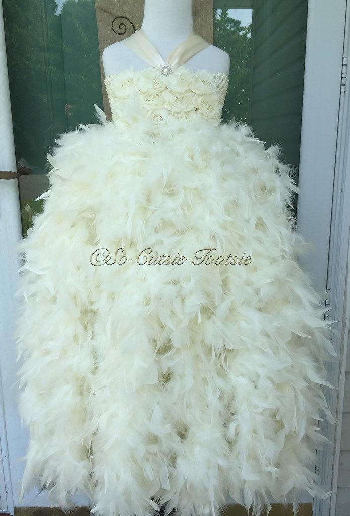 Wedding - Ivory Feather Flower Girl Dress- ivory flower girl dress, feather dress, pageant dress, girls dress, tutu dress, birthday dress