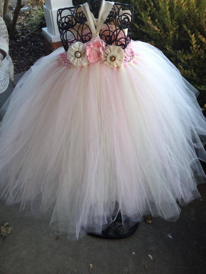Blush Pink Country Couture Flower Girl Tutu Dress/ Shabby Chic ...